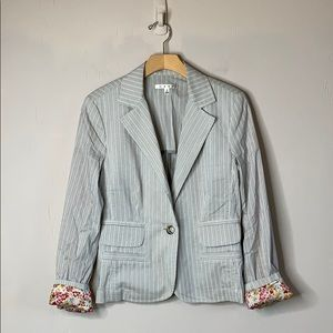 CAbi Floral Lined Striped Boyfriend Blazer 903